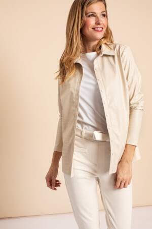 Poppy croco leather shirt - off white