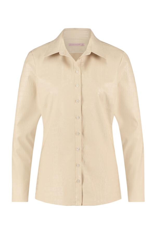 Poppy croco leather shirt - off white