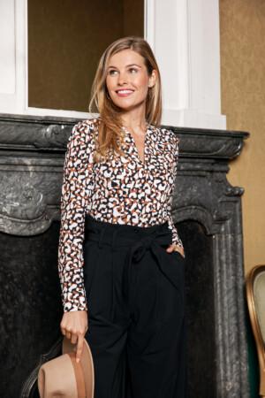 Sarah leopard shirt - cinnamon/black