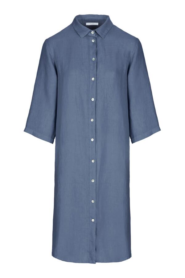 Bodil linen dress - oil blue