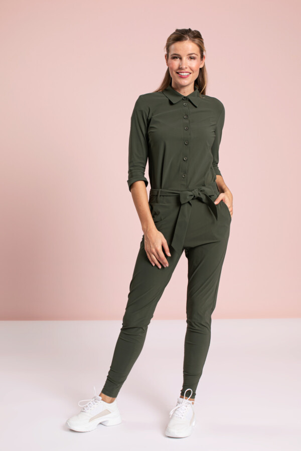 Angelique jumpsuit 3/4 with cuff - green