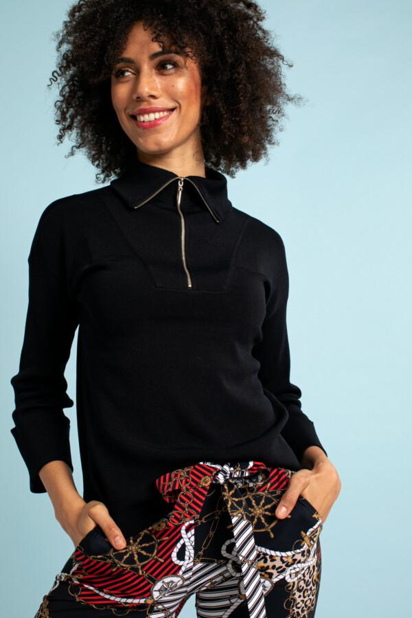 Momo Zip Pullover - Dark blue