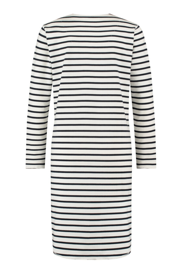 Fay Stripe Sweat Dress - White/dark blue