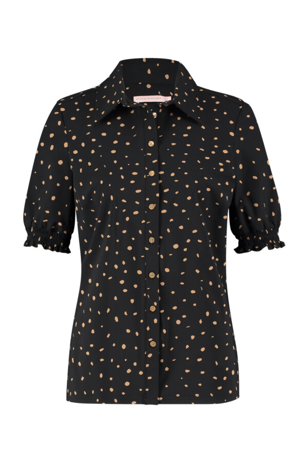 Poppy Cheeta Smoq Shirt - Black/Camel