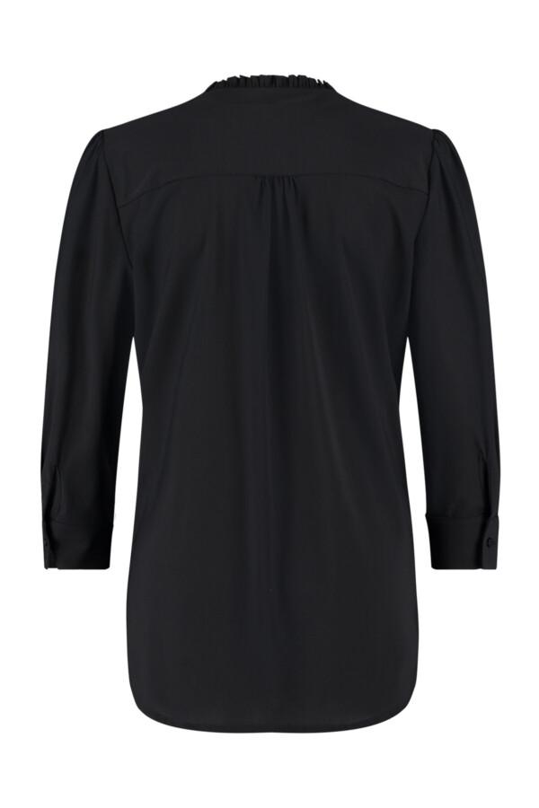 Evi 3/4 Ruffle Blouse - Black
