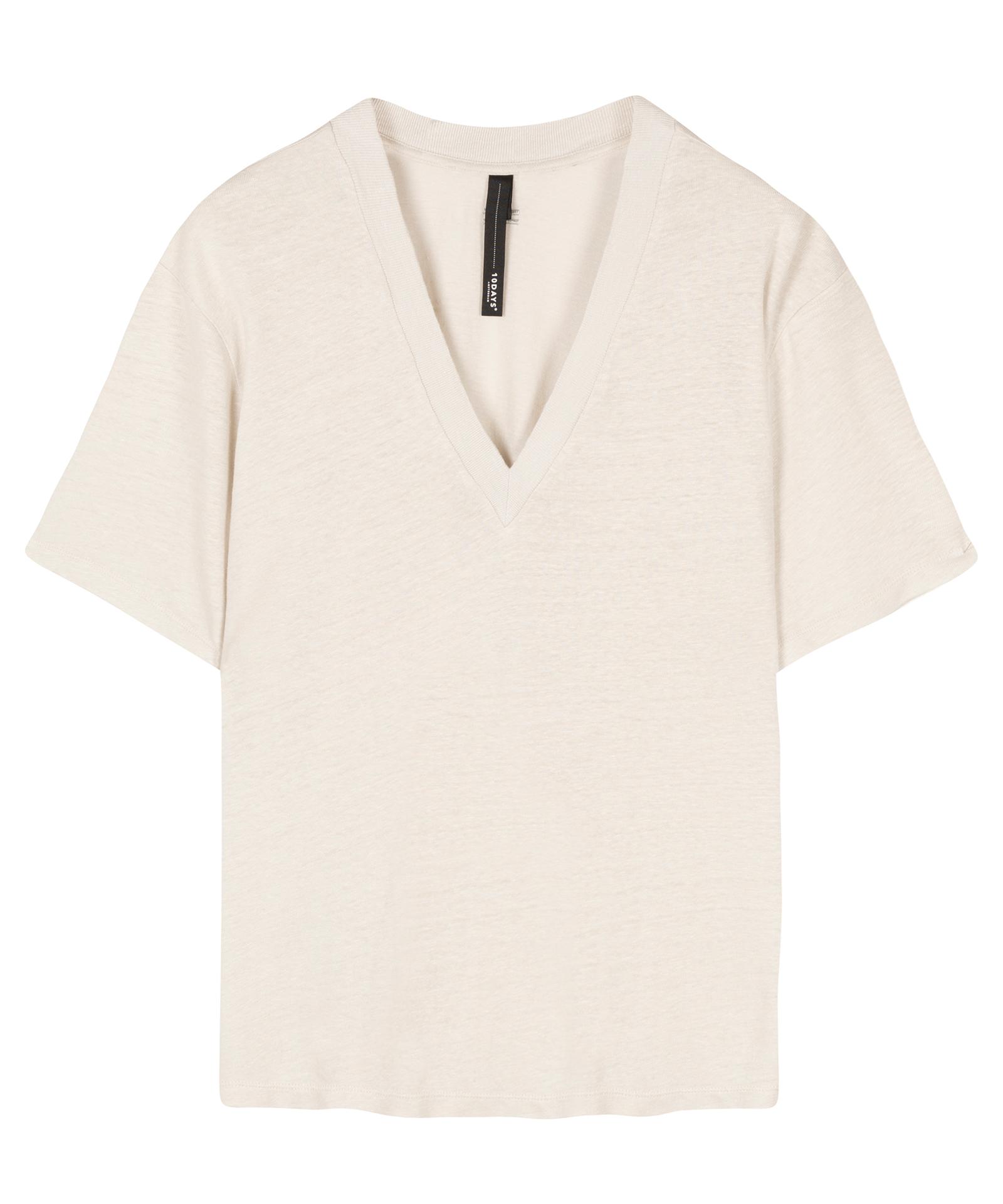V-neck Tee Linen - Silver white