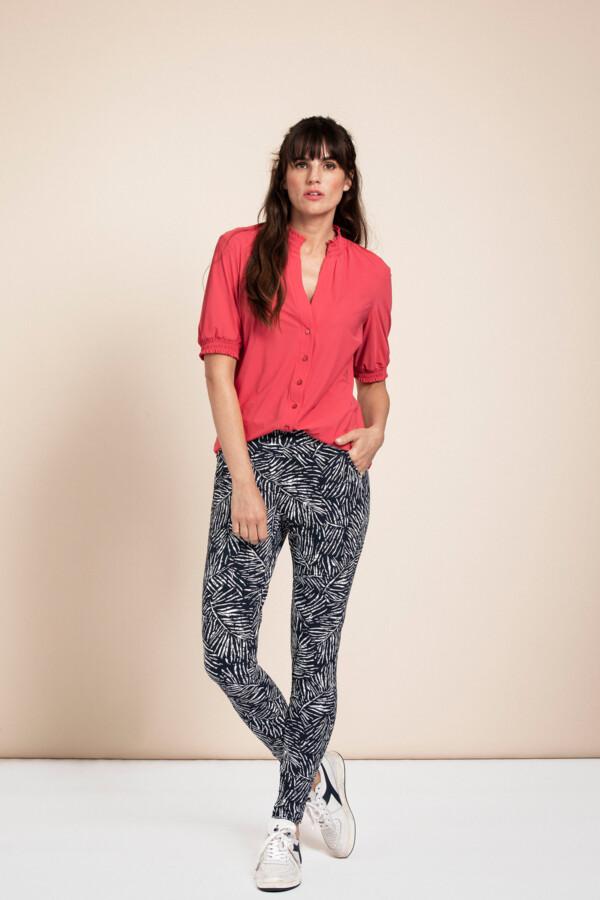 Flo Slit Leaf Trousers - Dark blue/off white