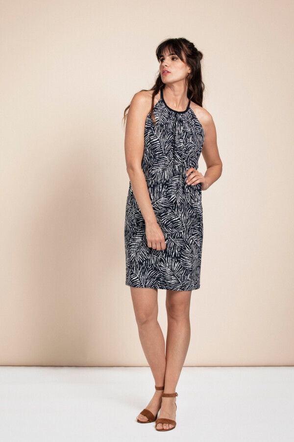 Carla Leaf Dress - Dark blue/off white