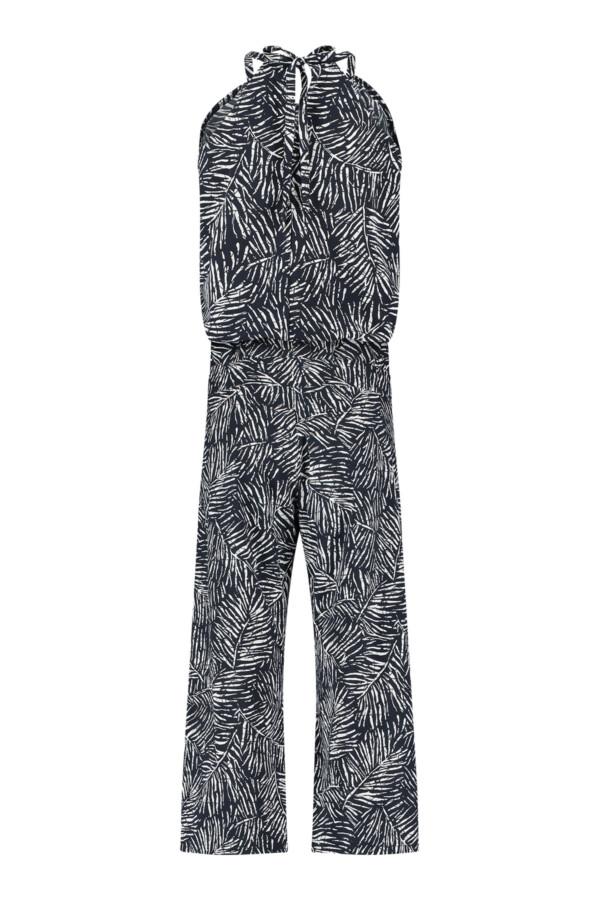 Upama Leaf Jumpsuit 7/8 - Darb blue/off white