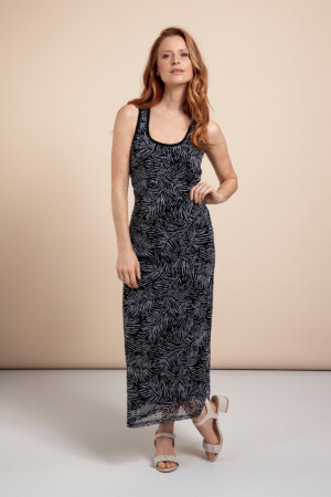 Stewart Mesh Leaf Dress - Dark blue/off white