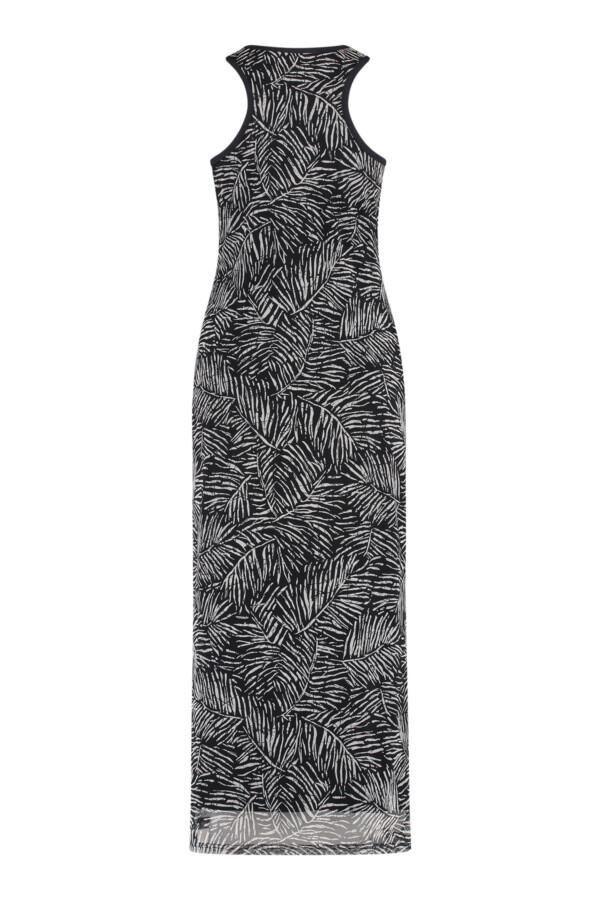 Stewart Mesh Leaf Dress - Dark blue/off white