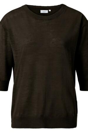 Cotton Linen Blend Sweater - Turkish coffee