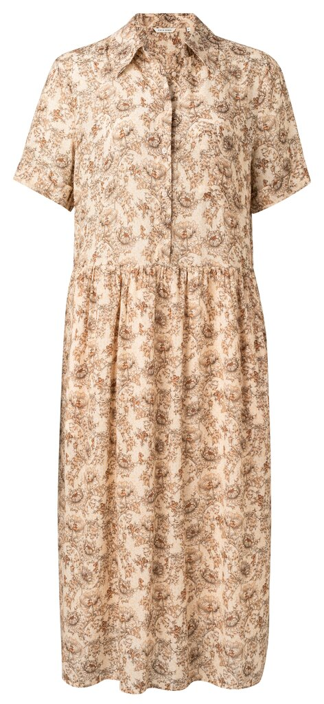 Printed Maxi Button Up Dress - Sheer pink dessin