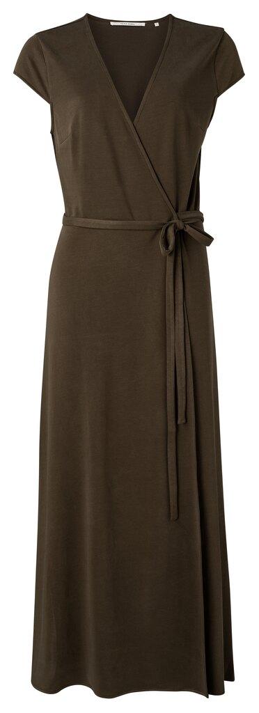 Long Jersey Wrap Dress - Turkish coffee
