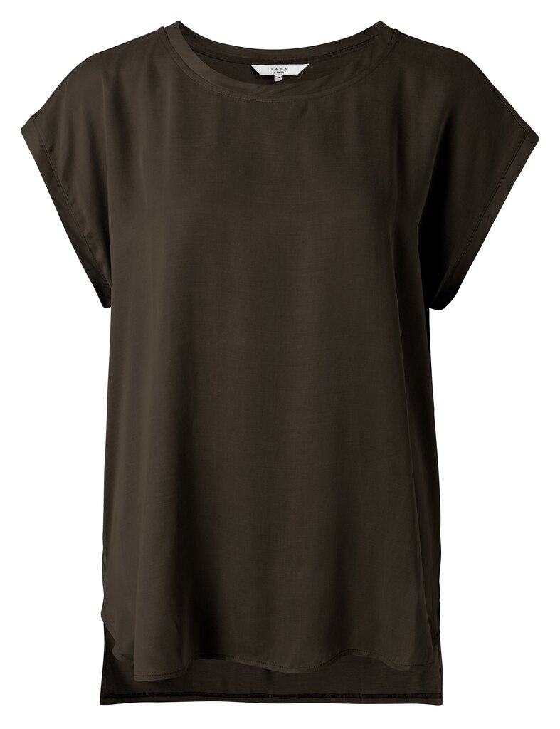 Fabric Mix Top With Round Neck - Turkish coffee