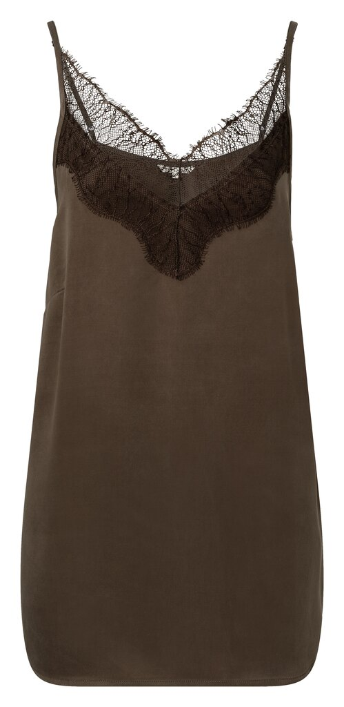 Strappy Top With Lace Detail - Turkish coffee