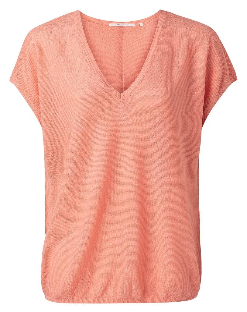 V Neck Silk Blend Sweater - Dahlia