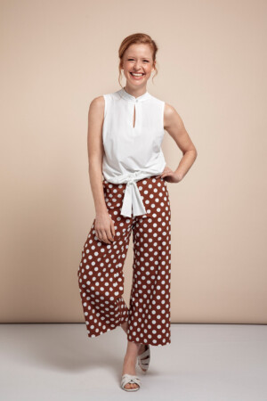 Bowy Big Dot Trousers - Cinnamon/off white