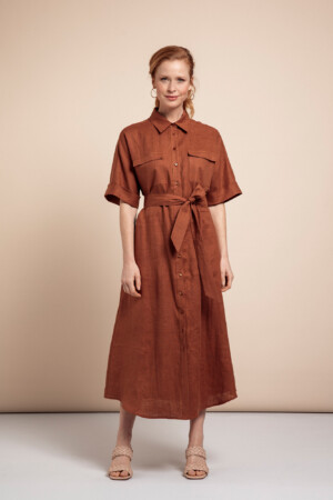 Marla Linen Dress - Cinnamon