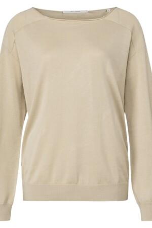 Linen Blend Open Neckline Sweater - Brown rice soft sand