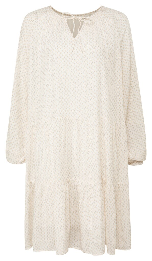 Printed Long Sleeve Mini Dress - Vaporous grey white dessin