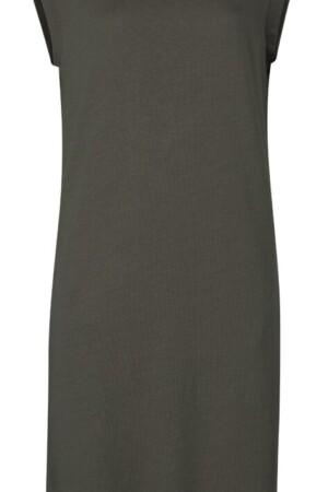 Linen Blend Jersey Dress - Tobacco brown