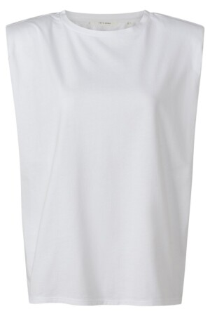 Soft Brushed Jersey Sleeveless Top - Pure white