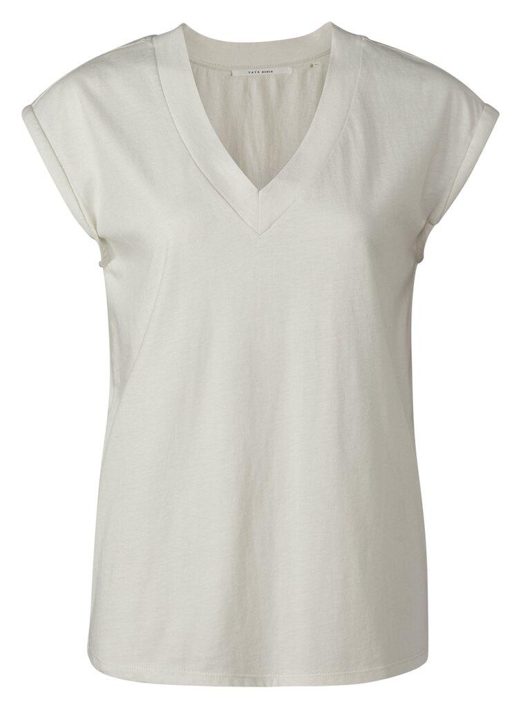 Jersey V-neck T-shirt - Vaporous grey white