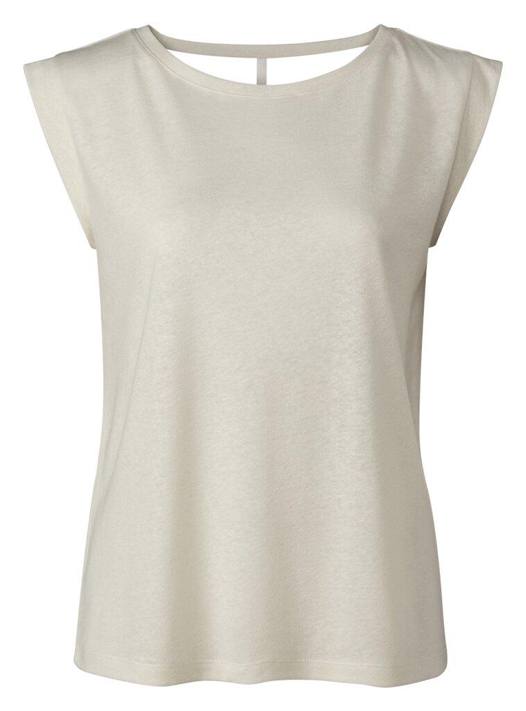 Linen Blend Crew Neck Tee - Vaporous grey white