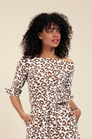 Dolly Leopard Shirt - Off white/caramel