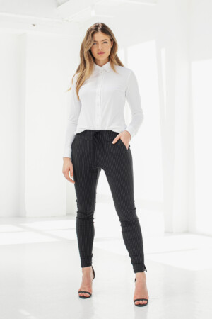 Downstairs Pinstripe Trousers - Black/off white