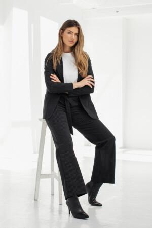 Renske Pinstripe Trousers - Black/off white