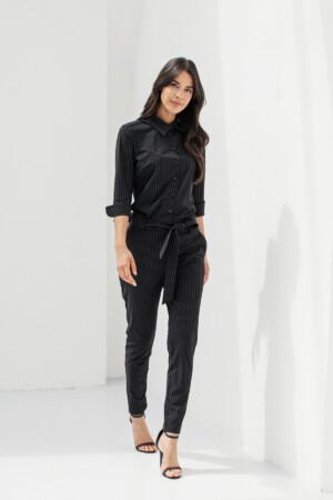 Angelique Pinstripe Jumpsuit - Black/off white