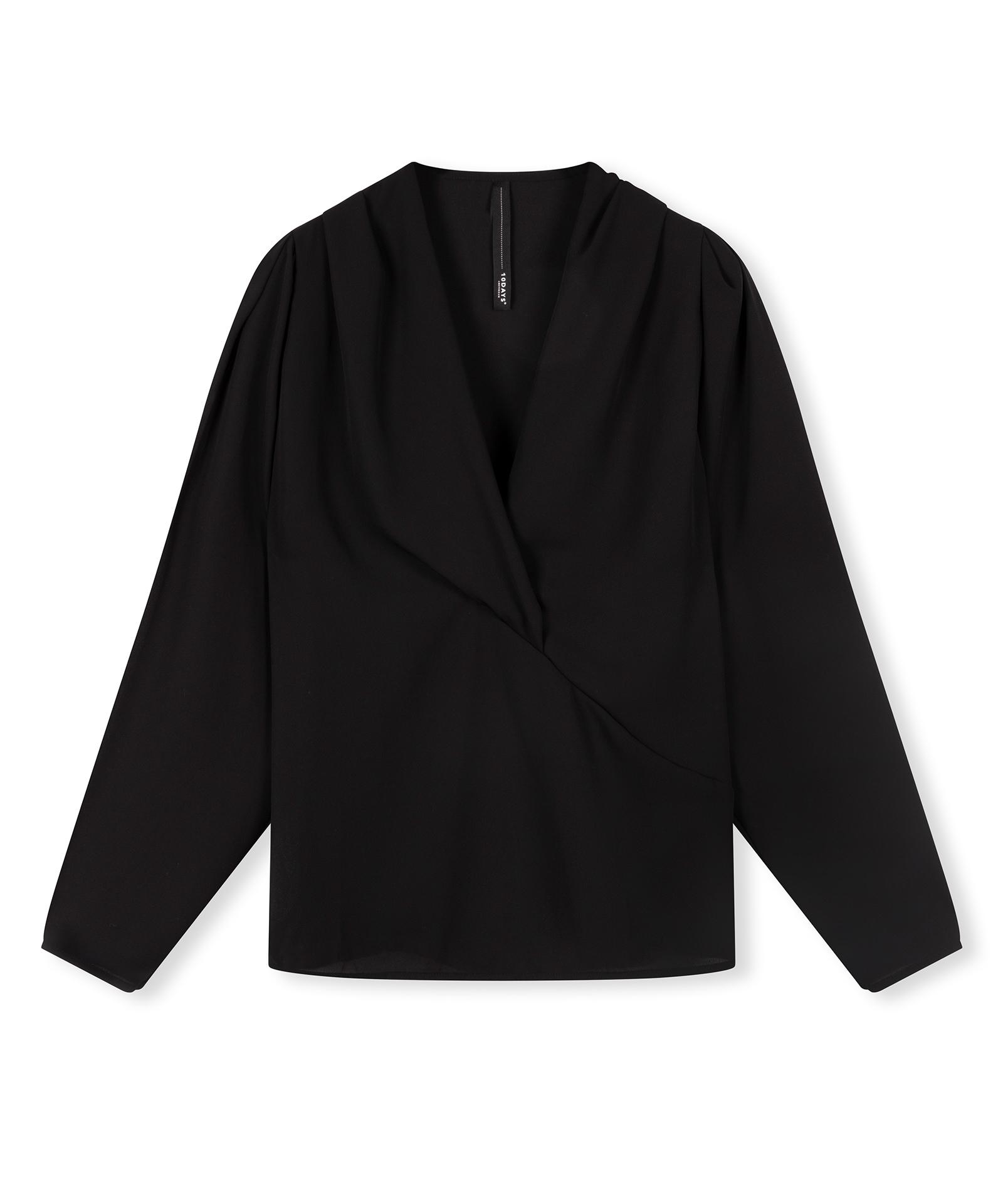 Overlap Draped Blouse - Black